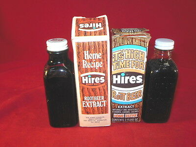 1X Pair Of HIRES Rootbeer EXTRACT Bottles With Original Boxes 3 Ozs Advertising
