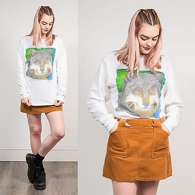 Wolf Long Sleeve Vintage T-Shirt Endangered Species White Animal Lover 12 14