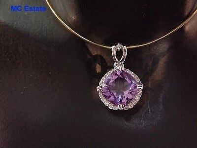 Exceptional 14k White Gold 3 Carat Natural Amethyst Sparkly Halo Pendant Charm