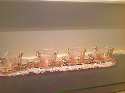 Vintage Indiana Glass Pink Recollection 4 Tea Cups/Saucers