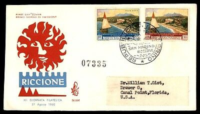 San Marino Riccione August 27, 1960 first day cover illustrated