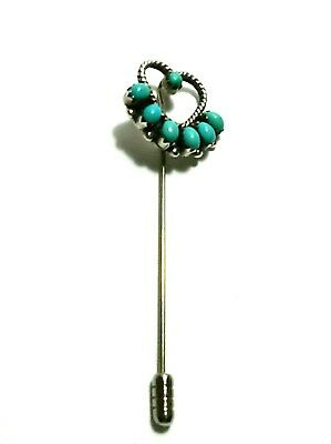 Terrific Vintage Eriacho Sterling Silver  925 & Turquoise Heart Shaped Stick Pin