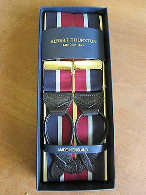 Albert Thurston Stripe Leather End Braces Navy/wine/sky Stripe