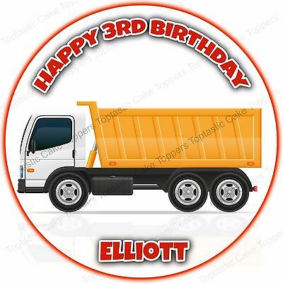 Personalised HGV Truck Articulated Lorry Edible Icing Birthday Party Cake Topper