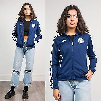 Adidas Blue Three Stripe Tracksuit Jacket Top Spring Hills Usa College 90's 8 10