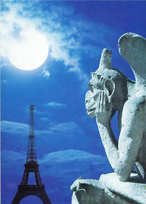 Gargoyle and Full Moon at Notre Dame Cathedral Paris Postcard