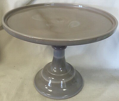 """Gray Glass Plain & Simple Pattern Pastry Tray - Cake Plate - 9"""""""
