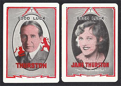 Howard Thurston and Jane Pair of Magician Throw Out Throwout Cards 1930s Devils