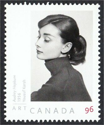 Audrey Hepburn Portrait by Karsh on Canada Postage Stamp #2271a