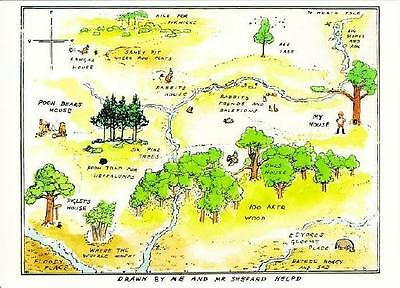 Postcard of Winnie the Pooh Map of the 100 Aker Woods - Postcard