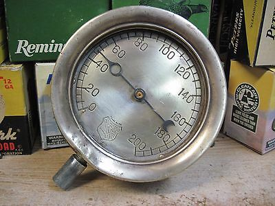 "Large Antique Ashcroft Brass Pressure Gauge Steampunk 6"" Steam Water Industrial"