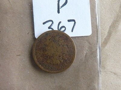 Vintage Usa 1869  One Cent Indian Head  Cat Value  70.00  P367
