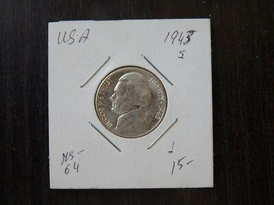 USA 1943 S  5 CENT CLAD SILVER  Jefferson  HIGH QUALITY CAT VALUE 16.00  C62