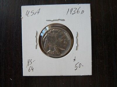 VINTAGE USA 1936 D 5 CENT Buffalo  HIGH QUALITY CAT VALUE 50.00  C17