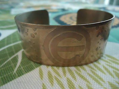 """Vintage 1940's 3-D Disney Mickey Mouse Initial """"e"""" 1"""" Cuff Bracelet Sterling"""