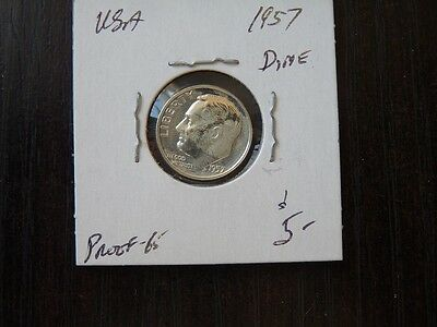 VINTAGE USA 1957 10 CENT SILVER Roosevelt VERY  HIGH QUALITY C33
