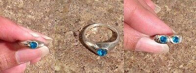 Silver Ring size 1.75 1.25 Baby Child Tiny Blue Stone Ring Baby Shower India