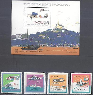 Macau 1989 Airplanes Stamps And Souvenir Sheet Mnh Very Fine