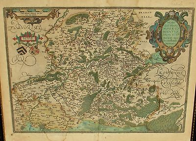 Antique ABRAHAM ORTELIUS 16th Cent Color Map of Hannonia (Antwerp)1579 (No. 70)