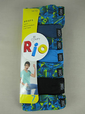 Rio Boys 7 Pack Soft Breathable Cotton Briefs Underwear sz 8 10 12 Multi Colour