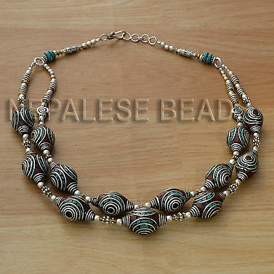 """NSS24 Tibetan Nepalese Glass Bead Coral Turquoise White Metal 23"""" Necklace"""