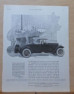 1924 magazine ad for Buick - Six Cylinder two-passenger Sport Roadster, boat