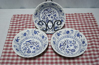 """LOT of 3 JOHNSON Bros 6"""" Soup /  Cereal BOWLS. Blue Nordic Ironstone"""