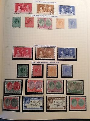 Stamps St.Kitts-Nevis 1937 King George VI sets. Mint and some used