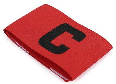Captains Armband Red Football Rugby Hockey Sports Velcro YOUTH - ADULT SIZE