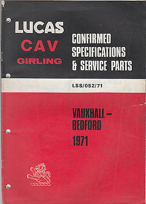 Lucas CAV Girling Service parts catalogue Vauxhall Bedford 1971