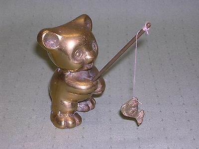Heavy Brass Teddy Bear Fisherman Figurine, with pole and caught fish.  Cute!