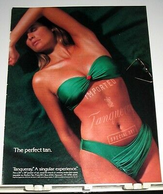 1990 Tanqueray Imported English Gin Ad ~ Green Bikini Girl ~ Perfect Tan