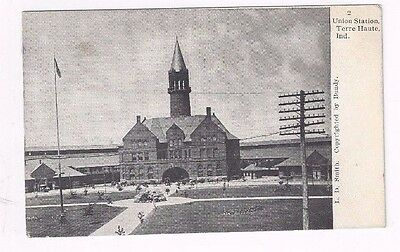 IN Terre Haute Indiana antique 1909  udb post card Union Station Building