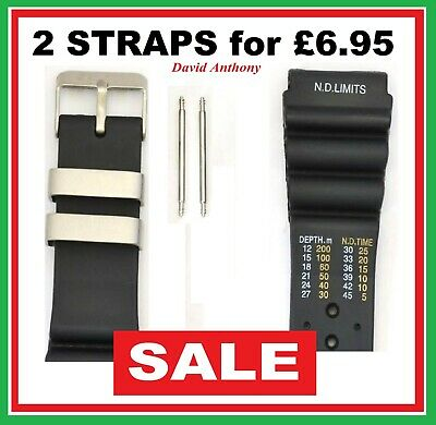 Sale - 24Mm Black Divers Watch Strap, Nd Time, N D Limits, Polyurethane Tpu