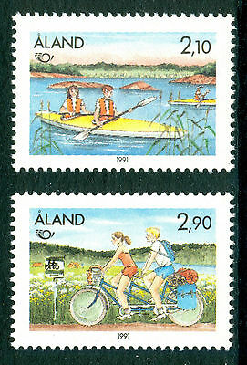 ALAND 1991 stamps Norden Tourism um (NH) mint Cycling Canoeing