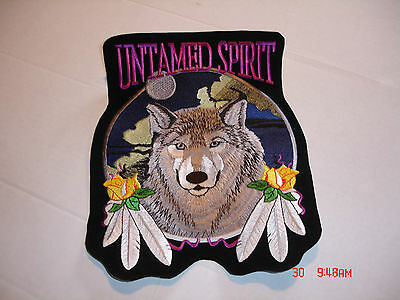 "Wolf With Feathers And Rose ""untamed Spirit"" Large Patch, 8.5"" Wide X 10.5"" Tall"