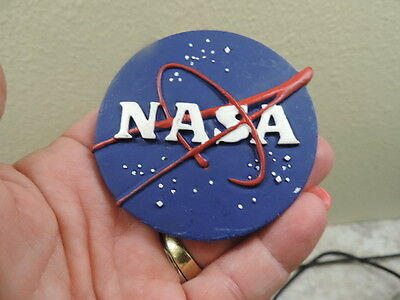 "Vintage NASA REFRIGERATOR MAGNET 2 1/2"" round Space shuttle collectibles"