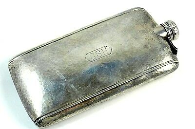 Antique Sterling Silver Hand Hammered Flask 11.3 Troy Ounces LARGE
