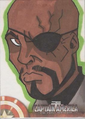 "Captain America The First Avenger Movie - Unknown Artist ""Nick Fury"" Sketch Card"