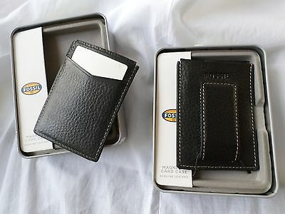 2c2ba1969886ad Fossil Men's Lincoln Magnetic Money Clip Card Case Black Leather Wallet NWT