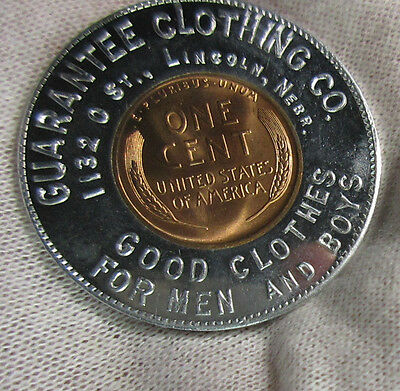 Lincoln Nebraska Guarantee Clothing 1939 Unc 1935 Encased Cent Good Luck Penny