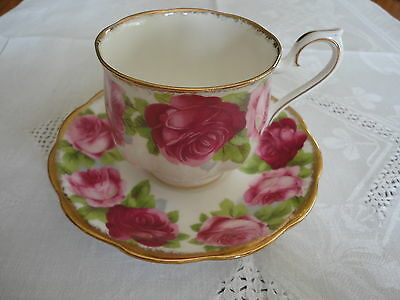 Royal Albert  Bone China England  Cup And Saucer Old English Rose *