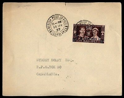 Morocco Agencies British Post Office Casablanca 1937 Cover 2nd Day of Issue