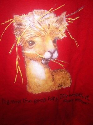 """Large Adult Alpaca Wisdom """"Dig For The Good Hay It's Worth It' TShirt Brand New"""