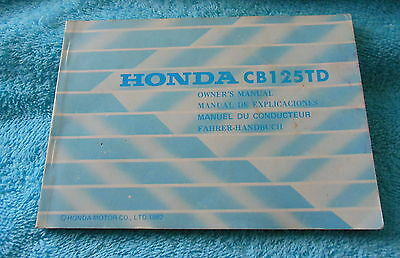 Genuine 1980s Honda CB125TD Superdream Motorcycle Owners Manual