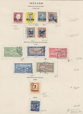 1924  To 1929 Iceland Lot On Old Page Overprint's Used Sct 140 - 150 Mi 111 -121