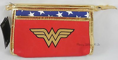 New DC Comics Wonder Woman Cosmetic Make-Up Case Tote Bag With Pocket Purse