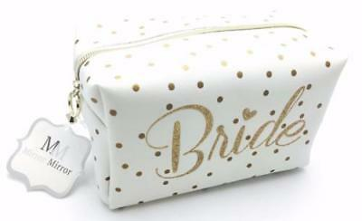 Cream and Gold Bride Cosmetic Make Up Bag TC715