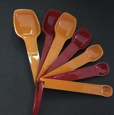 Vintage Tupperware measuring spoons Bordeaux Red and Orange clean condition