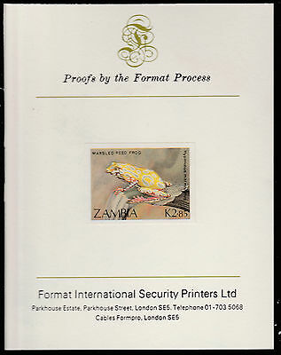 Zambia (1388) - 1989 FROG 2k85  imperf on Format International PROOF  CARD